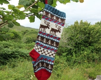 Knit Christmas Stocking, Reindeer Santa Sock, Xmas Stocking, Fair Isle Stocking, Christmas Decoration, Knit Christmas Stocking, LBR