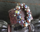 VALENTINE SALE Upcycled vintage rhinestone leather cuff bracelet - Hibiscus Halo - rustic pink floral eco chic OOAK boho by slashKnots