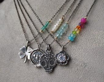 Dainty gemstone charm necklace - Spring Fever - sterling silver gold fill semi precious stone sugar skull clover flower bee yoga slashKnots