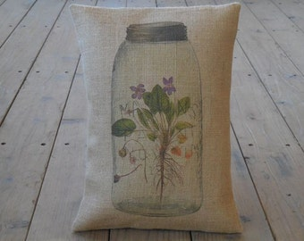 Mason Jar Violets Burlap Pillow, Mason Jar flowers,  French Country, Rustic Farmhouse, INSERT INCLUDED