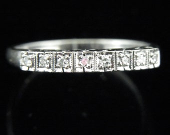 Mid Century Diamonds 14k White Gold Diamond Wedding Band Ring Estate Vintage