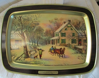 Vintage Currier and Ives Tray // American Homestead Winter // Christmas