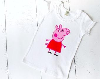 Peppa Pig Shirt - Girls shirt - girls birthday shirt - peppa pig birthday shirt - graphic tee - shirts for girls - peppa pig tshirt