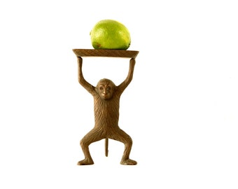 Vintage Monkey Tray in Cast Brass - Let's Monkey Around / I Go Ape Over You / I'm Bananas for You - Good Luck Gift, Quirky Desk Tray