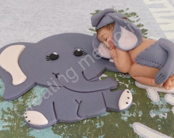 Fondant  BABY With ELEPHANT Cake Topper - Baby. shower/Birthday Party/Cake Supplies/Cupcakes/Baby Boy Topper/Fondant