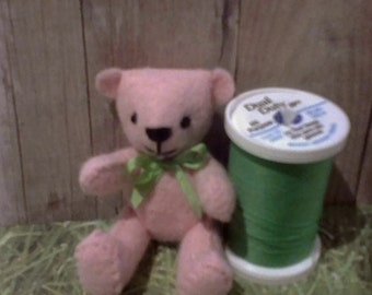 Miniature Light pink Bear Jointed Felt Bear with green Bow READY TO SHIP