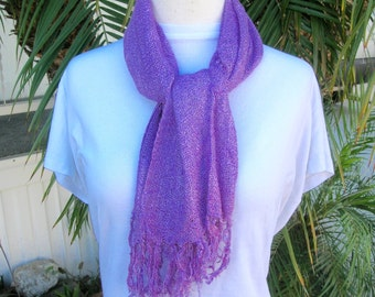 Cambodian Long Silky Lavender Oblong Scarf, all weather, vintage, unused
