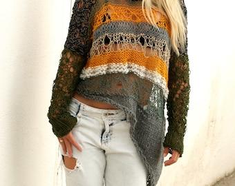 Loose Weave Irregular Sweater.