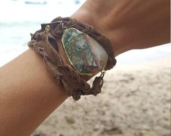 Ocean Jasper Leather Wrap Bracelet / Wrap Bracelet / Leather Wrap / Ocean Jasper / Turquoise Aqua Blue / Boho Chic / Leather Jewelry