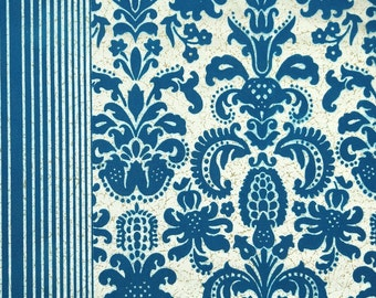Vintage Flock Wallpaper by the Yard 70s Retro Flock Wallpaper - 1970s Blue Floral Damask and Stripe on Gold