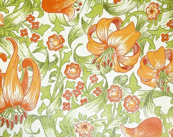 Retro Wallpaper By The Yard 70s Vintage Wallpaper   1970s Orange Lilies And  Flowers With Green