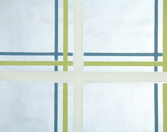 Retro Wallpaper by the Yard 70s Vintage Wallpaper - 1970s  Metallic Silver Blue Green and White Plaid