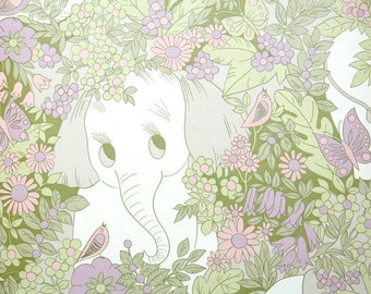 Retro Wallpaper by the Yard 70s Vintage Wallpaper - 1970s Childrens Wallpaper Elephant in Jungle with Pink and Purple Flowers