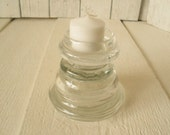 Vintage candlestick upcycled clear glass stacked coasters votive tea light