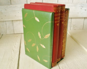 Vintage bookends faux green leather gold leaves vines 1960s