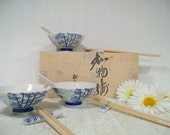 Vintage Japanese Ceramic Soup Set for 4 in Wood Box - Asian Inspired Blue on White Porcelain Pieces Includes Bowls Spoons ChopSticks & Rests