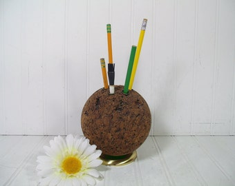 Vintage Office Desk Solid Cork Accessory Cup - Retro Globe Workstation Utensils Holder - Funky Seventies Artisan's Studio Tool Organizer