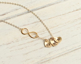 Gold Three Initial Infinity Necklace