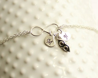 Sterling Silver Two Peas In A Pod Forever Bracelet with Initials