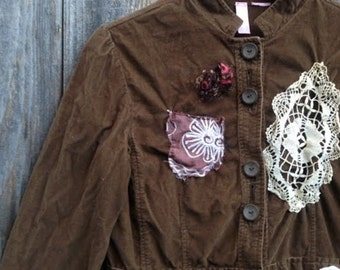 cocoa dark brown groovy funky corduroy victorian lace boho gypsy cool retro eco upcycled blazer