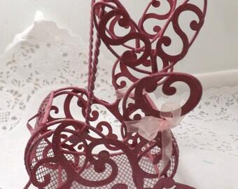 Rare Small pink metal easter bunny rabbit basket