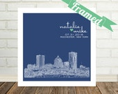Rochester Skyline Unique Wedding Gift  Rochester Art Print Personalized FRAMED ART Any City Worldwide Wedding Gift Personalized Holiday Gift