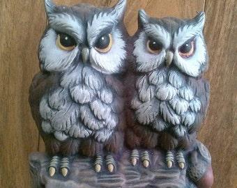 Vintage ceramic owl duo figurine