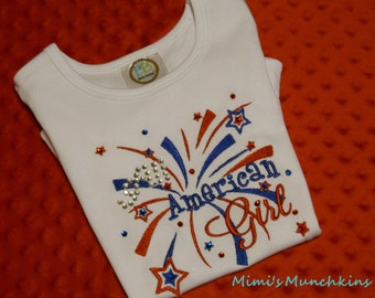 Blinged Tee, ALL AMERICAN GIRL, Girl Tee, Size 3T, Memorial Day, July 4th, Patriotic Tee, Labor Day, Veteran's Day Tee, Ready to Ship