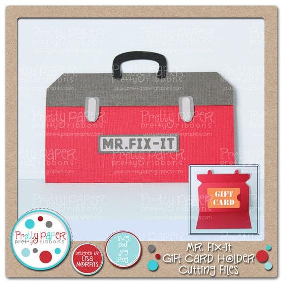 mr fix it gift card holder cutting files instant download. Black Bedroom Furniture Sets. Home Design Ideas