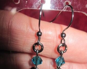 Handmade DAINTY Gunmetal Bows w/ Swarvoski Teal Crystal Dangle Pierced Earrings OOAK 1711h Bridal Wear,Holiday Wear,Anytime Wear