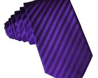 "Men's Vertical Striped Purple 2.5"" Necktie, for Formal Occasions (625)"