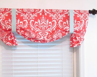 Tie Up Damask Valance  Coral White Misty Blue Top Window Treatment Handmade in the USA