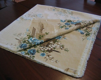 Vintage Square Tablecloth In Beige with Blue Floral Accents