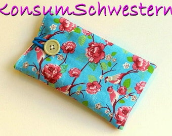 """phone case, sleeve, cover, pouch, cotton fabric """"BIRDS ROSES Turquois"""" with button fits Apple® iPhone® SE , as well as Apple® iPhone® 5 & 5s"""