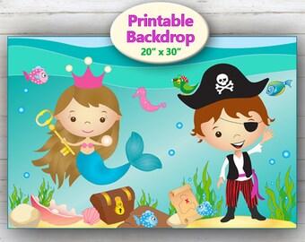 Printable Backdrop Mermaid & Pirate, Mermaid Backdrop Banner, Mermaid Decorations, Under the Sea Decorations, Mermaid Party Decor