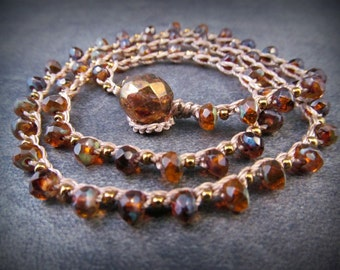 Boho Crochet Necklace, Amber Brown and antique brass, Earthy, Mystical, Rustic, Bohemian Jewelry