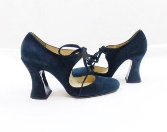 Vintage BIBA PLATFORM MARYJANE Black Heels With Ties Stunning Studio 54 Fashion