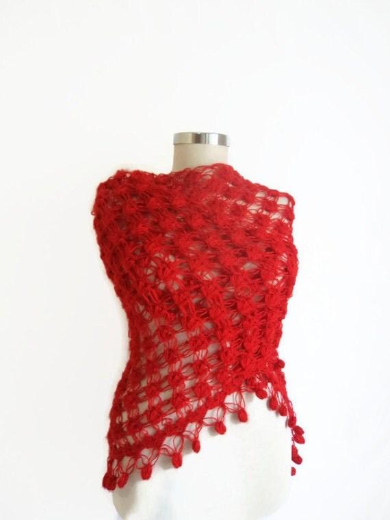 Handmade Crochet Red Shawl-Free Shipping