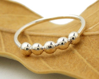 Pebble Band Stacking Ring: sterling silver ring, stacking ring, pebble ring, simple ring, dotted ring, bubble ring, simple ring