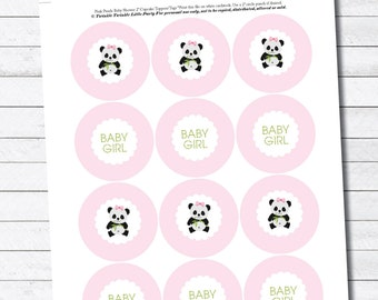 """Pink Baby Girl Panda 2"""" Digital Cupcake Toppers/Favor Tags Baby Shower - INSTANT DOWNLOAD"""