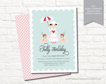 Mary Poppins Themed Digital Birthday Party Invitation