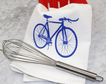 Tea Towel - Screen Printed Flour Sack Towel - Bicycle Towel - Handmade - Road Bike Kitchen Towel - Eco Friendly Cotton Towel