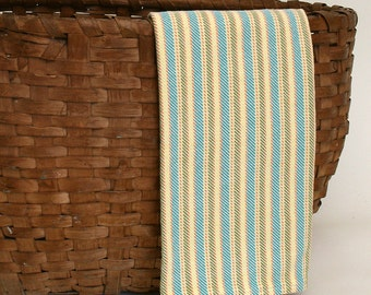 Handwoven Cotton Dishtowel in Twill Stripes of Turquoise, Green and Yellow