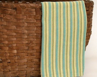 Handwoven Cotton Dishtowel in Pale Green, Turquoise, Green and Yellow Twill Stripes