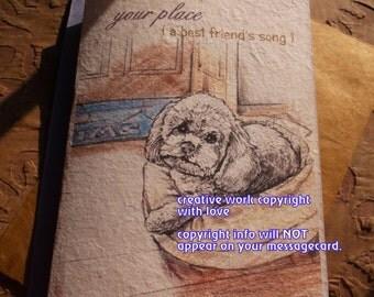 your place/  toy poodle card love my poodle/rescue poodle / storybook /sentimental/ personalize/unique empathy condolence/pet sympathy cards