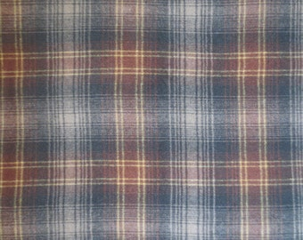 "Wool Plaid Yardage // 1960's Wool Fabric // Deadstock Vintage Wool Yardage...59"" wide X 63"" long"