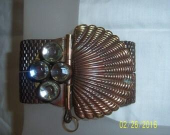 Vintage Woven Mesh Bracelet -  Mesh Bracelet With Rhinestones -  Brass Mesh Bracelet -  Copper Mesh Bracelet - Double Chain Bracelet