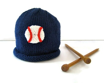 BASEBALL Beanie Cap - knit baseball hat - baby shower gift - baby boy hat - infant boy hat - baby sports hat - hand knit baby hat