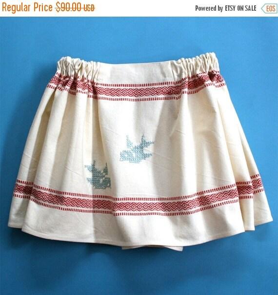 ON SALE Victorian Cotton Petticoat Skirt / Cream Red Aquamarine Cotton Embroidery / Large - BIRDIE Souvenir Skirt Ready-to-Ship Ooak