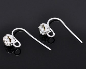 50 French Hooks Earring Ear Wires with 6mm Rhinestone in Prong Set Bezel, silver plated (25 pairs), fin0578b